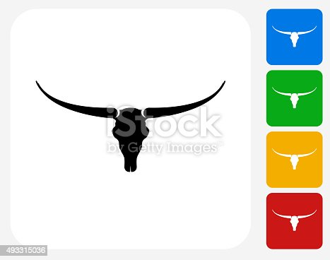 Bull Skull Icon. This 100% royalty free vector illustration features the main icon pictured in black inside a white square. The alternative color options in blue, green, yellow and red are on the right of the icon and are arranged in a vertical column.