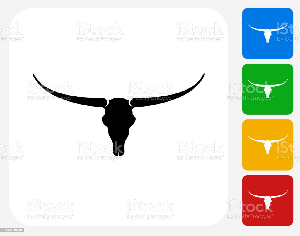 Bull Skull Icon Flat Graphic Design vector art illustration