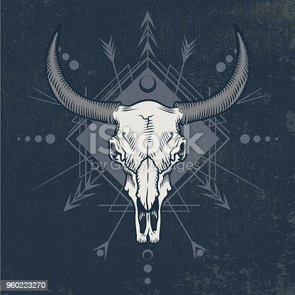 Bull skull in engraving graphic technique.