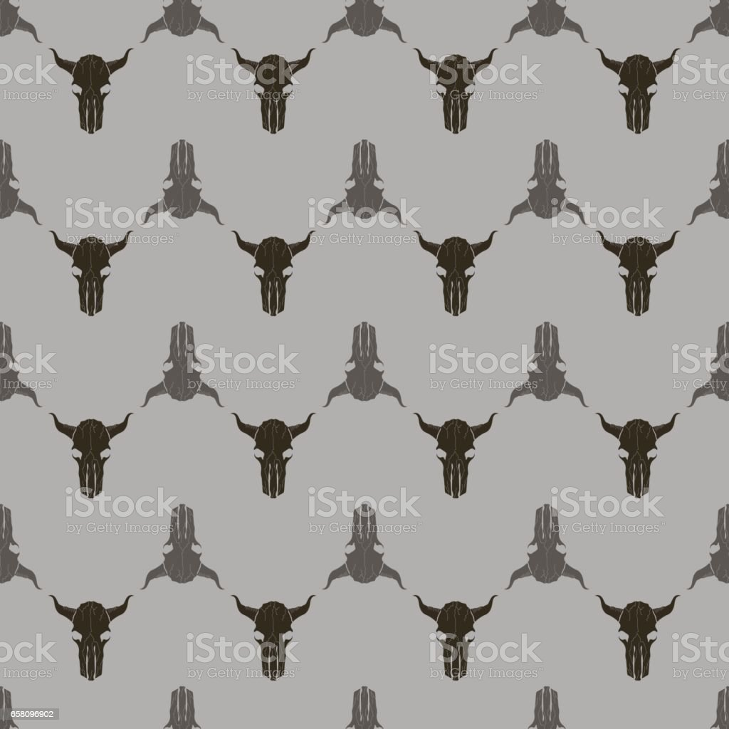 Bull Skull Silhouette Seamless Pattern royalty-free bull skull silhouette seamless pattern stock vector art & more images of agriculture