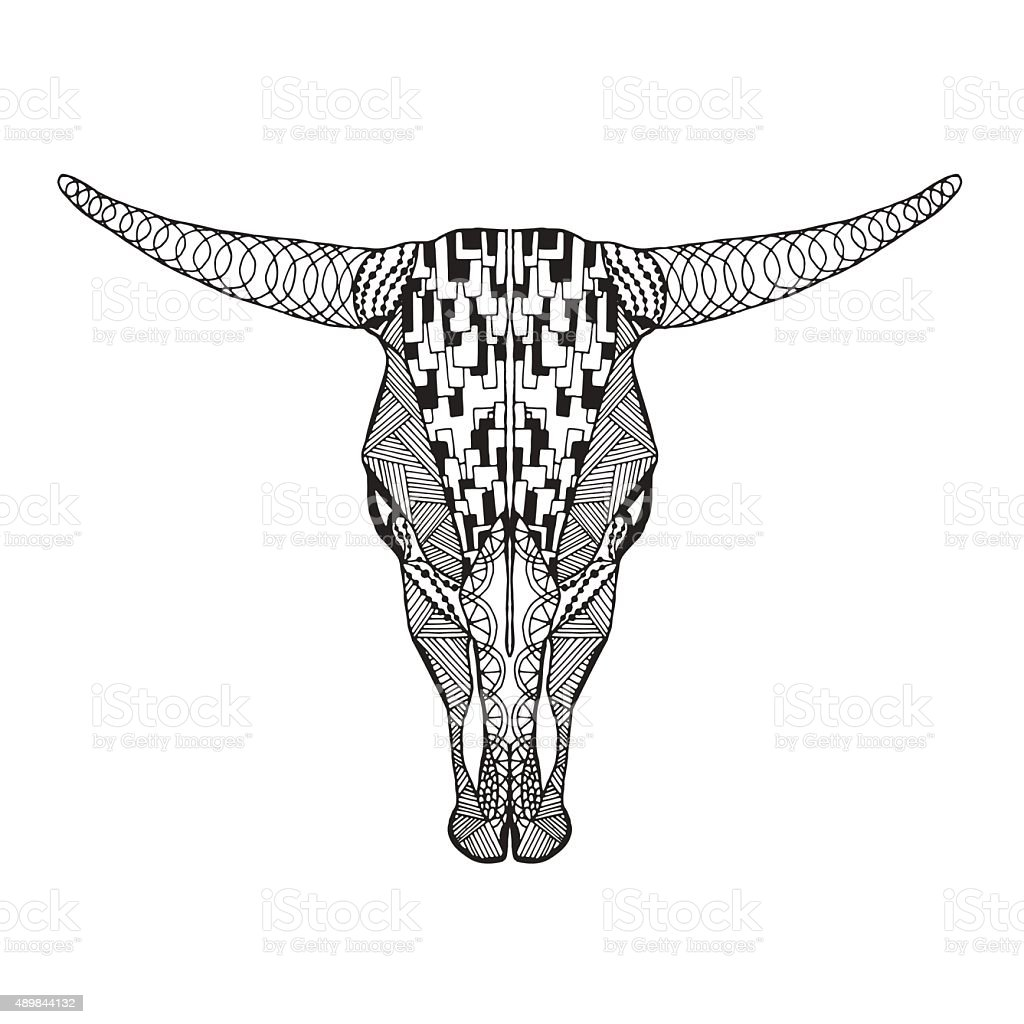 Bull skull. Sketch for tattoo or t-shirt vector art illustration