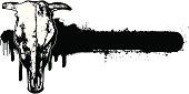 bull skull with grunge banner