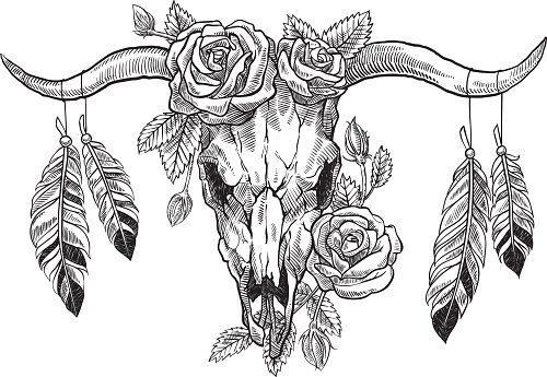 bull skull with roses on her head, and with feathers