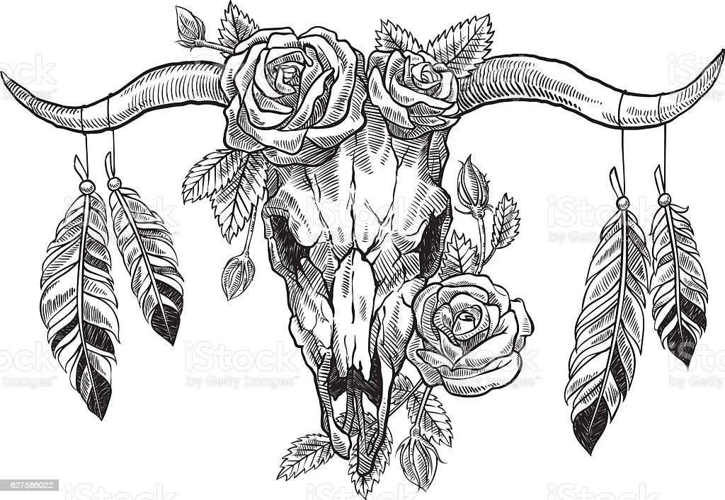 bull skull with roses on her head, and with feathers vector art illustration