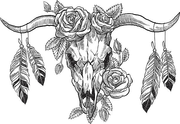 bull skull with roses on her head, and with feathers - tier tattoos stock-grafiken, -clipart, -cartoons und -symbole