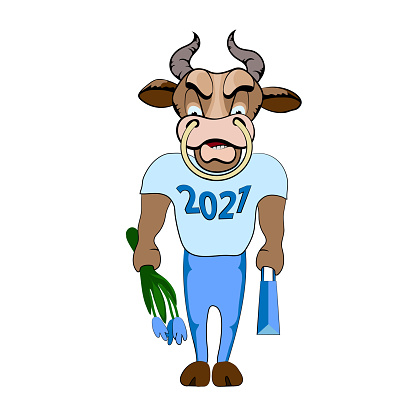 Bull, symbol of 2021. Chinese horoscope. Cartoon sports physique Bull in a t-shirt and pants with a bag and a bouquet of flowers goes on a date. Vector print for a t-shirt, mug, New Year's souvenir