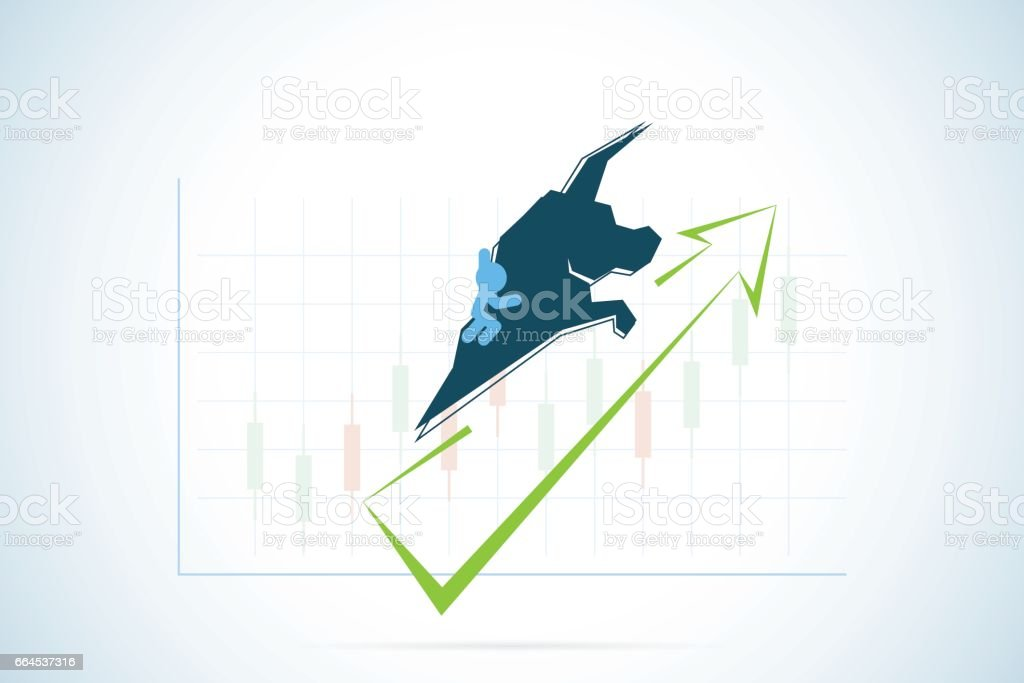 Bull Symbol With Green And Candlestick Chart Stock Market And