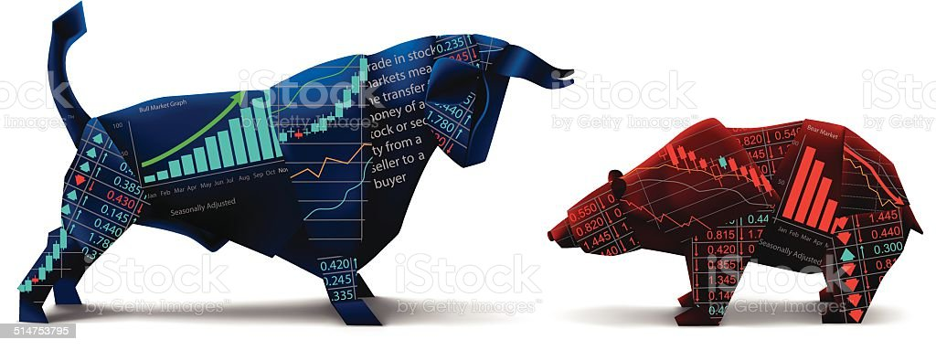Bull vs Bear Origami vector art illustration