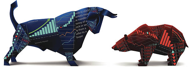 bull vs bear origami - market stock-grafiken, -clipart, -cartoons und -symbole