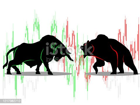 bull vs bear symbol of stock market trend on white background Illustration
