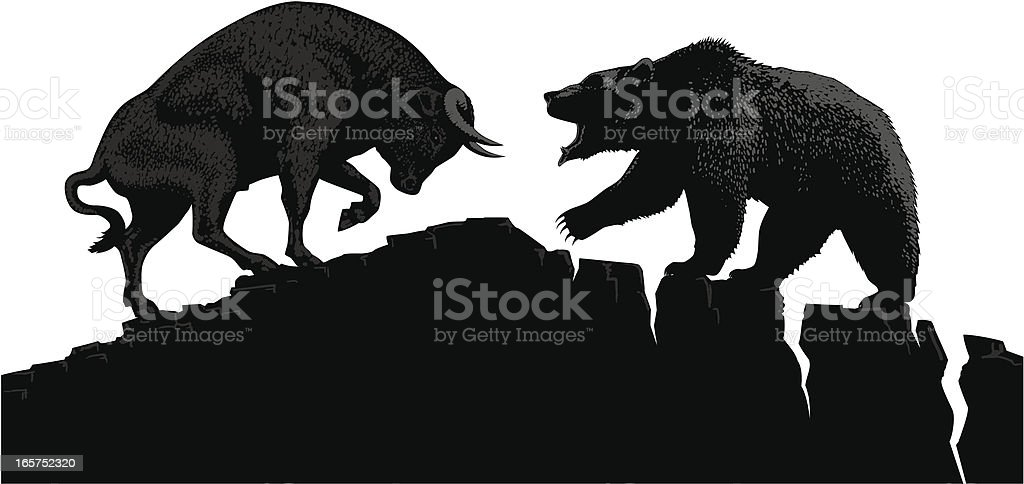 Bull vs Bear royalty-free stock vector art