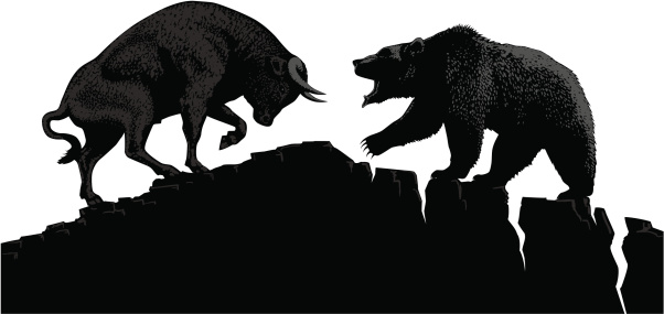 Bull and bear, symbols of stock market trends. Vector illustration with elements as separate objects.