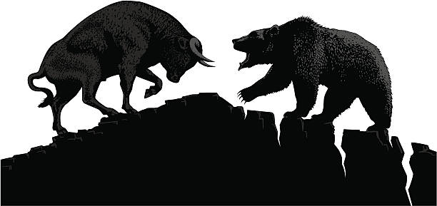 stockillustraties, clipart, cartoons en iconen met bull vs bear - bearmarkt