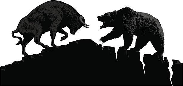 stockillustraties, clipart, cartoons en iconen met bull vs bear - bullmarkt