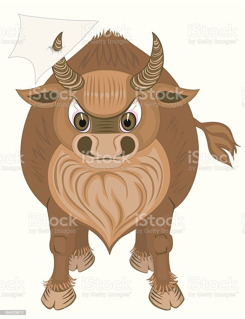 bull with blank paper royalty-free stock vector art