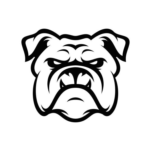 bildbanksillustrationer, clip art samt tecknat material och ikoner med bulldog djura huvud maskot sport vektorillustration - bulldog