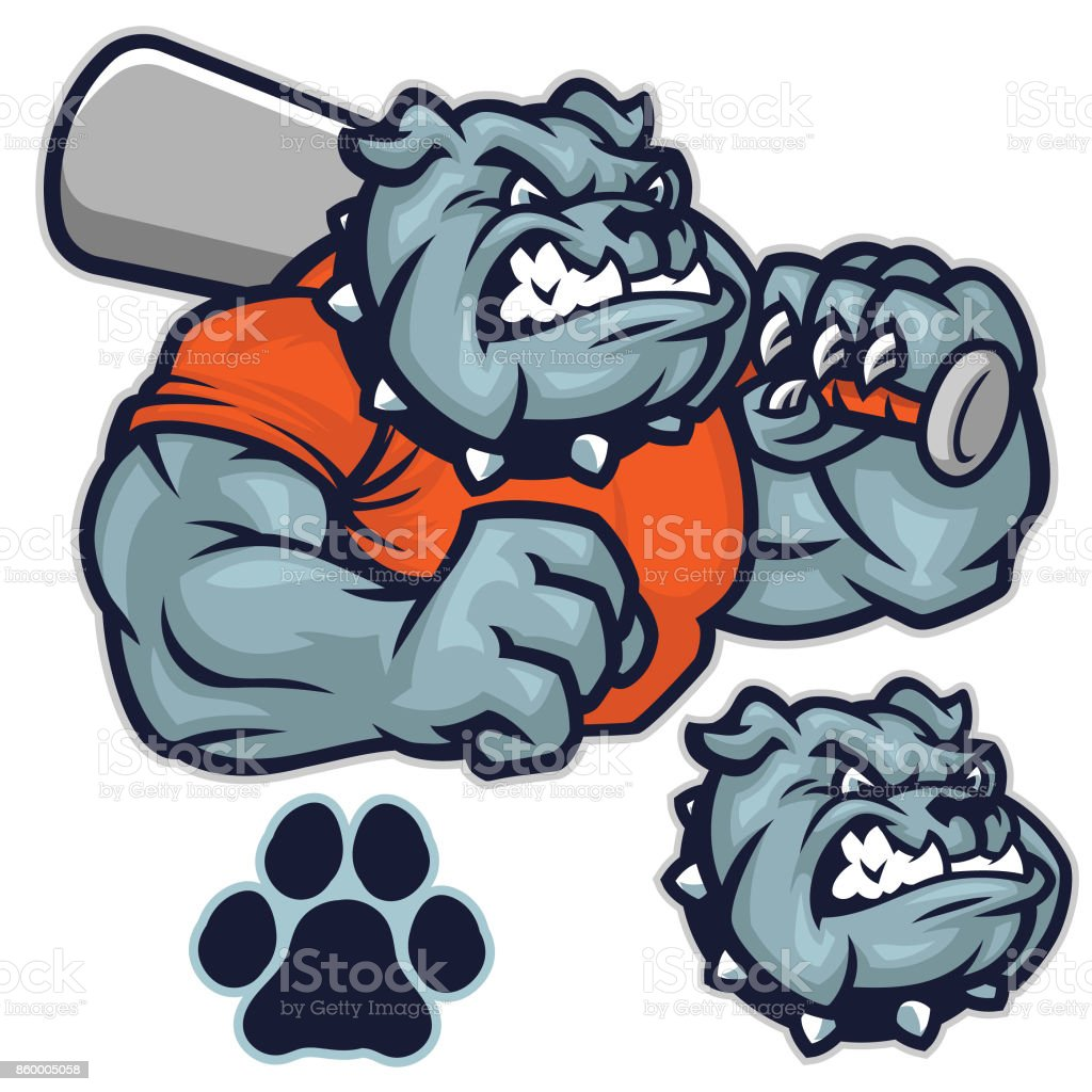 Bulldog baseball pack vector art illustration