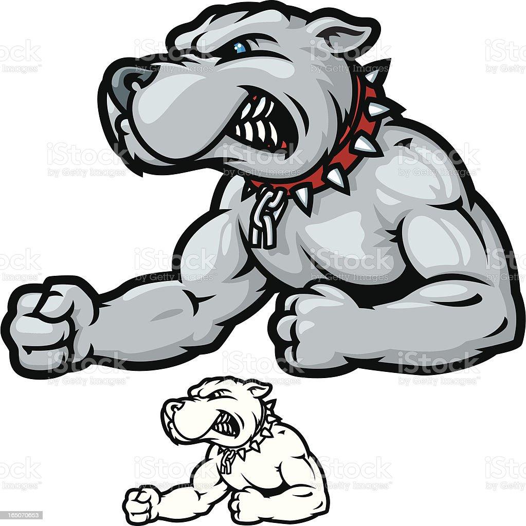 Bulldog Bodybuilder vector art illustration