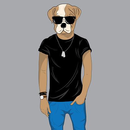 Bulldog dressed up in black t-shirt and sunglasses. Anthropomorphic illustration