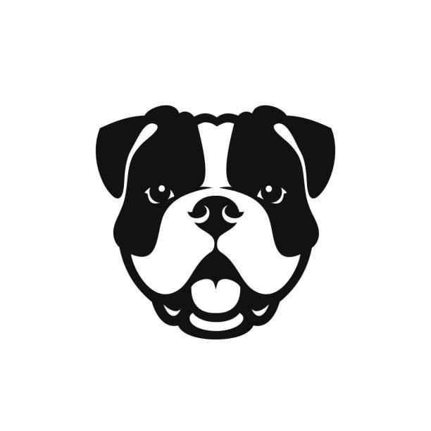 bildbanksillustrationer, clip art samt tecknat material och ikoner med bulldog face-isolerad skisserat vektor illustration - bulldog