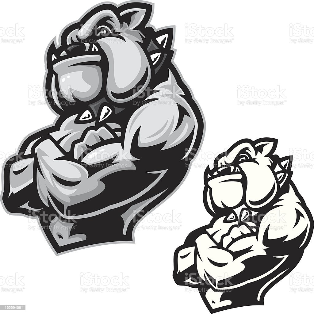 Bulldog Guard B&W royalty-free stock vector art