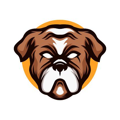 Bulldog head cartoon mascot