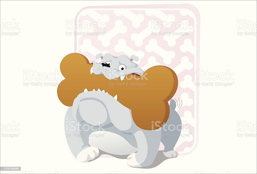 Bulldog loving cookies vector art illustration