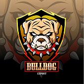 Bulldog mascot esport logo design.