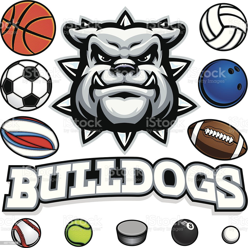 Bulldog Mascot Sports Package vector art illustration
