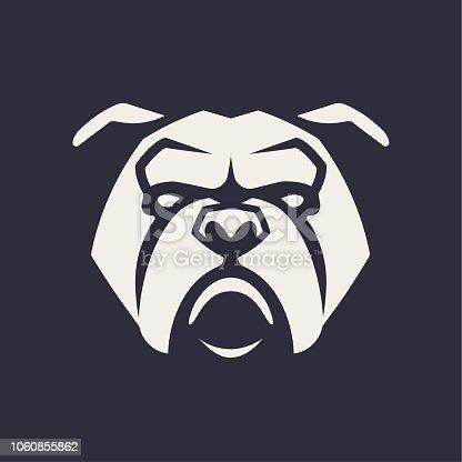 Bulldog mascot vector art. Frontal symmetric image of Bulldog looking dangerous. Vector monochrome icon.