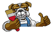 A bulldog painter decorator cartoon animal mascot holding a paintbrush peeking around a sign and giving a thumbs up