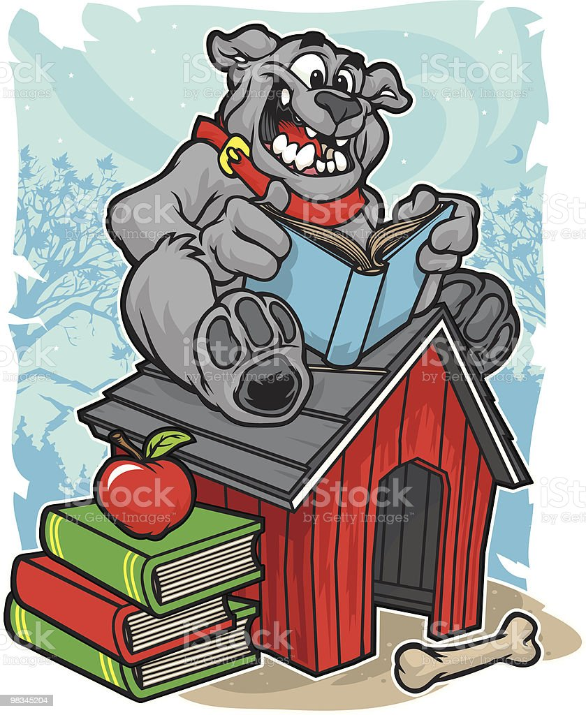 Bulldog Reading royalty-free bulldog reading stock vector art & more images of animal body part