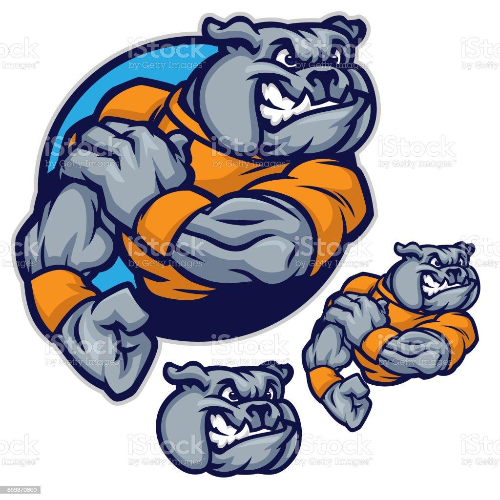 bulldog sports pack vector art illustration