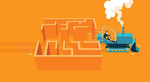illustrazioni stock, clip art, cartoni animati e icone di tendenza di bulldoozer throughout labyrinth - facilità