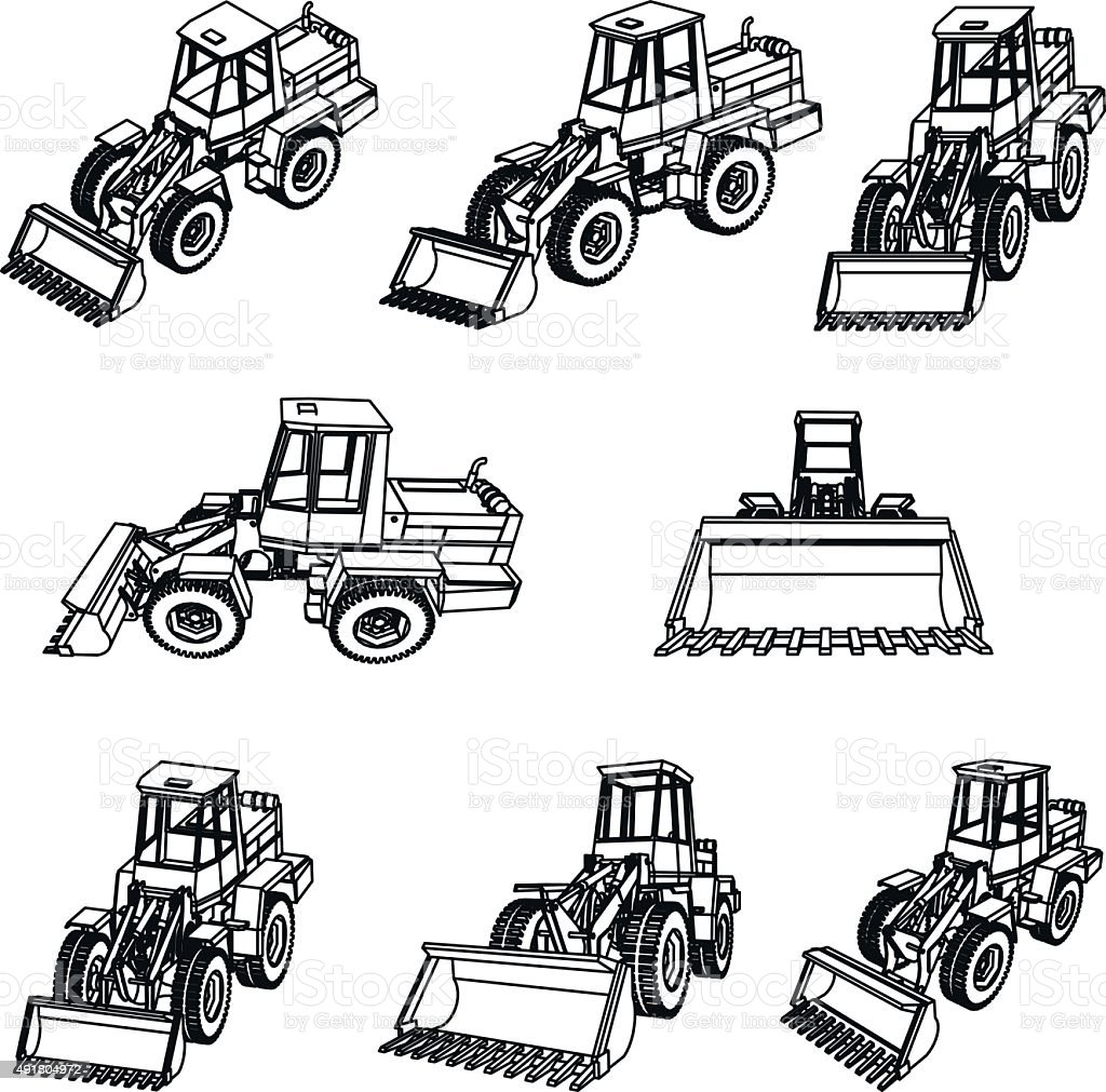 Bulldozer. Eight 3D projection vector. vector art illustration