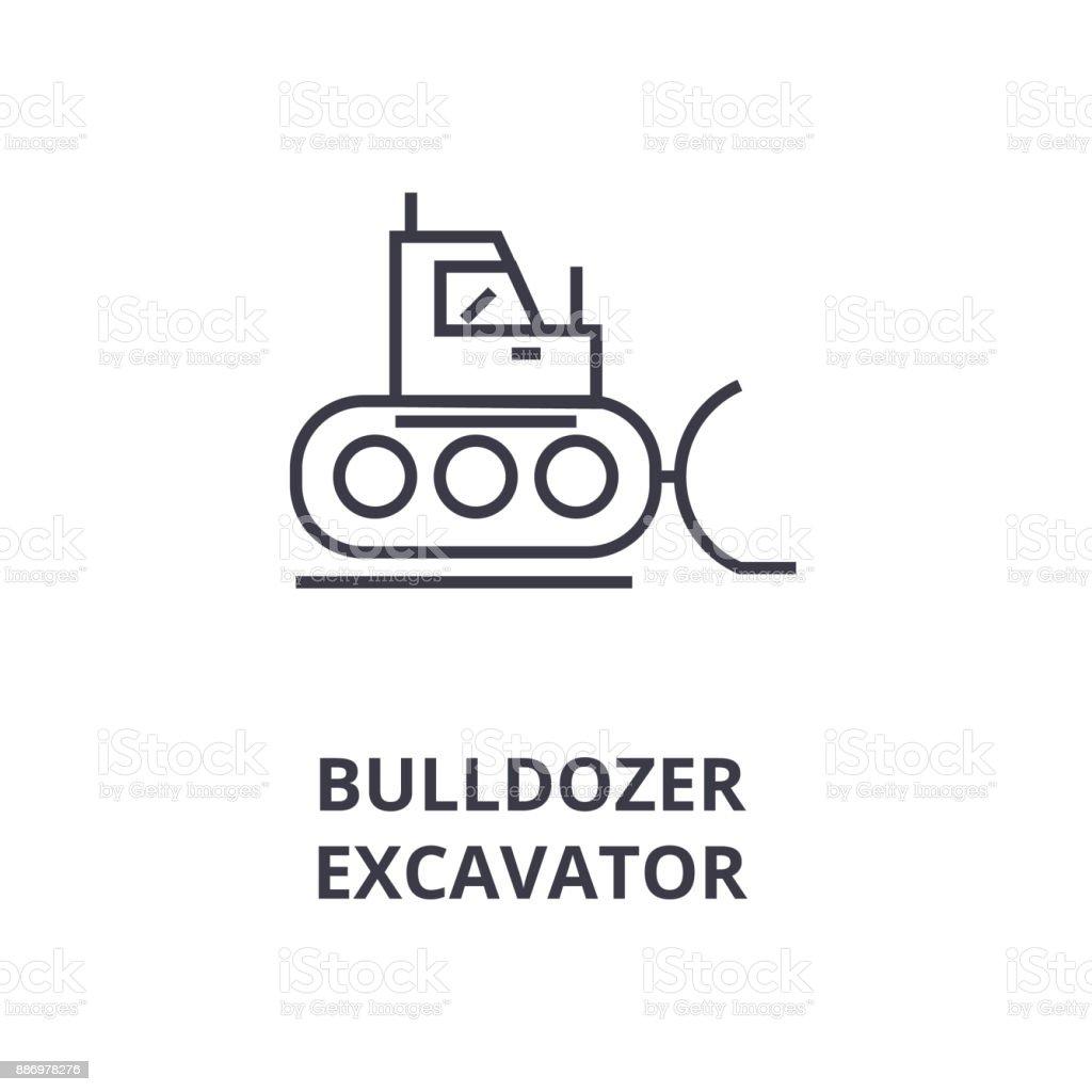 bulldozer, excavator line icon, outline sign, linear symbol, vector, flat illustration vector art illustration