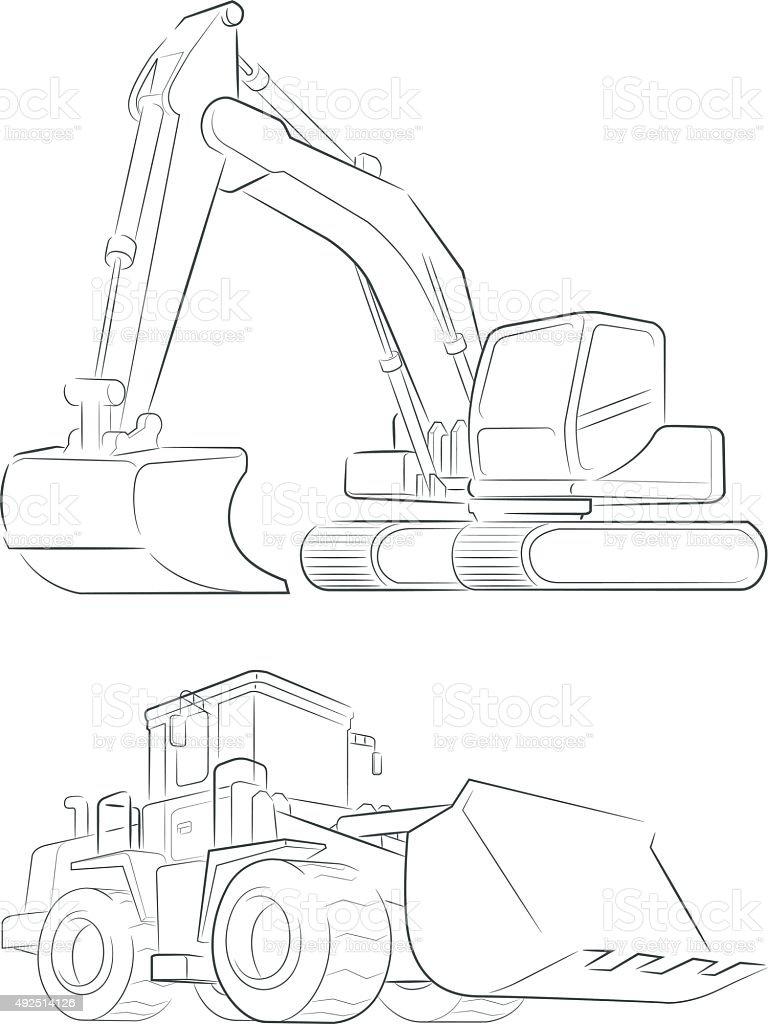 Bulldozer & Excavator Vektor-Line Art – Vektorgrafik