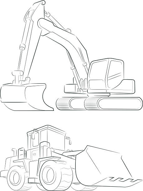 Bulldozer & Excavator Vector Line Art vector art illustration