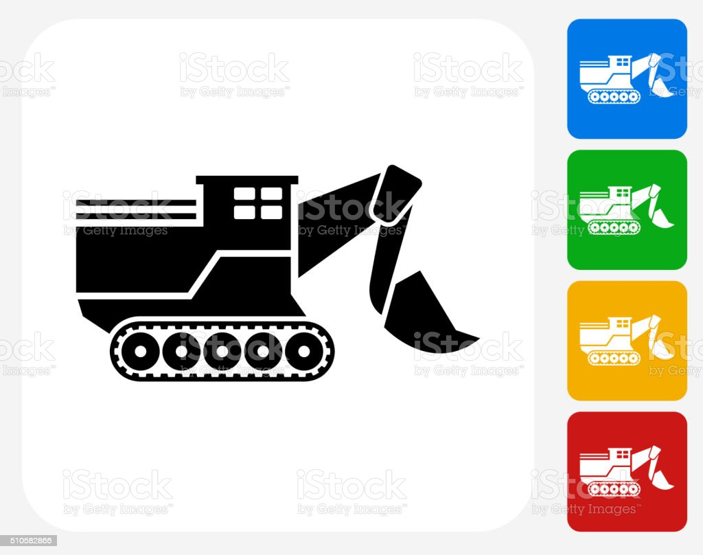 Bulldozer Icon Flat Graphic Design vector art illustration