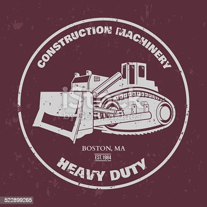 Bulldozer illustration. T-shirt design. Vector