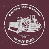 Bulldozer illustration. T-shirt design. Vector illustration