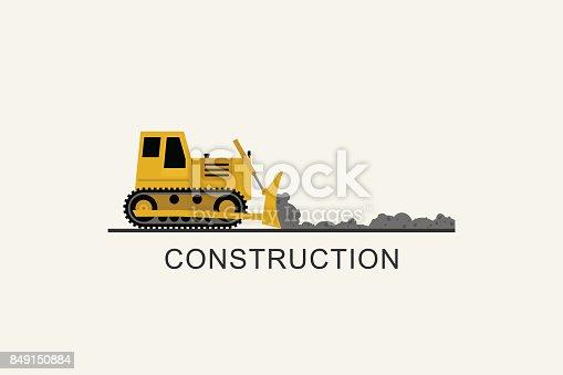 istock Bulldozer leveled the road 849150884