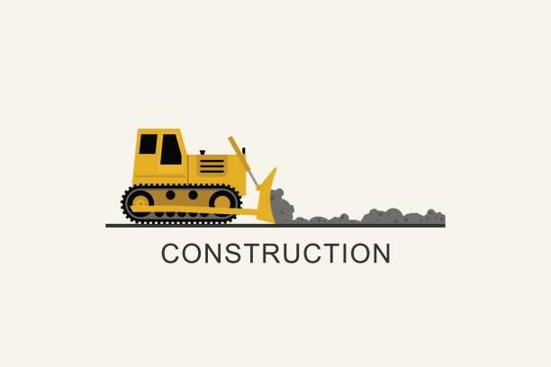 stockillustraties, clipart, cartoons en iconen met bulldozer genivelleerd de weg - graven