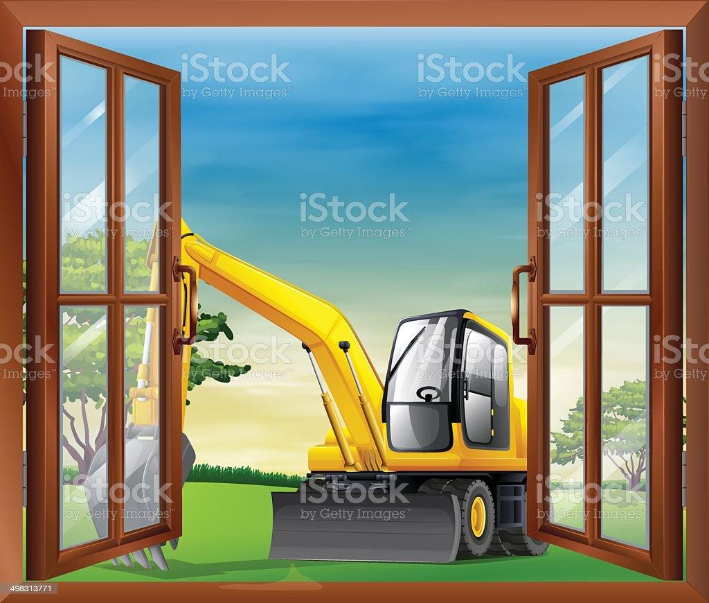 Bulldozer outside the window vector art illustration