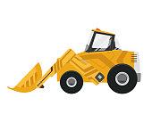 Bulldozer quarry machine. Stone wheel yellow digger. Backhoe front loader truck. Work tractor excavator. Vector illustration