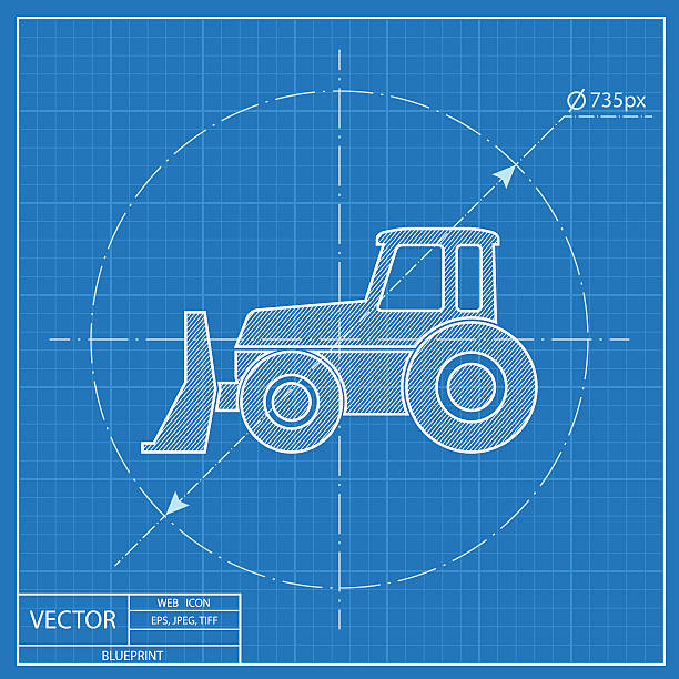 Blueprint tractor clip art vector images illustrations istock bulldozer vector blueprint icon vector art illustration malvernweather Images