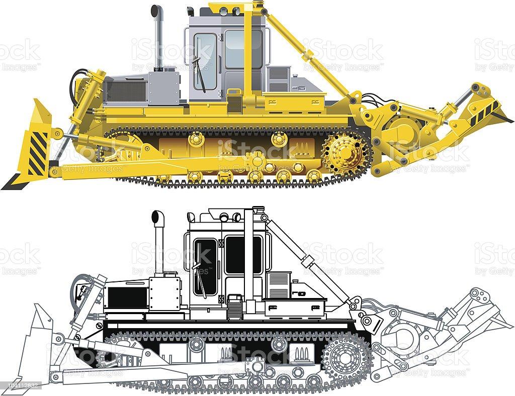 Bulldozer vector art illustration