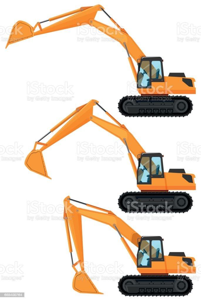 Bulldozers in three positions – Vektorgrafik