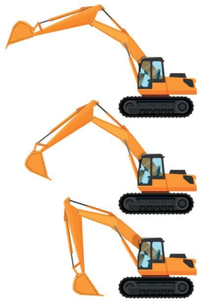 Bulldozers in three positions vector art illustration