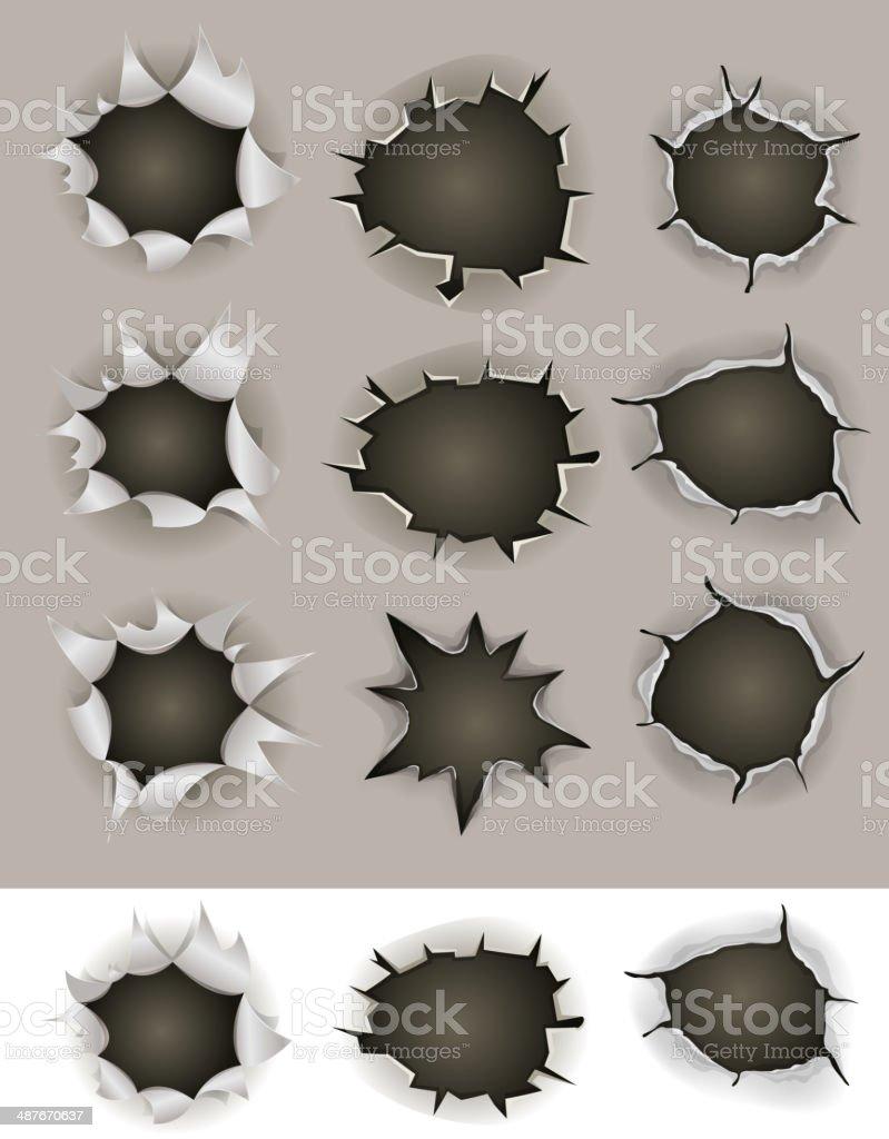 Bullet And Shotgun Holes Set vector art illustration